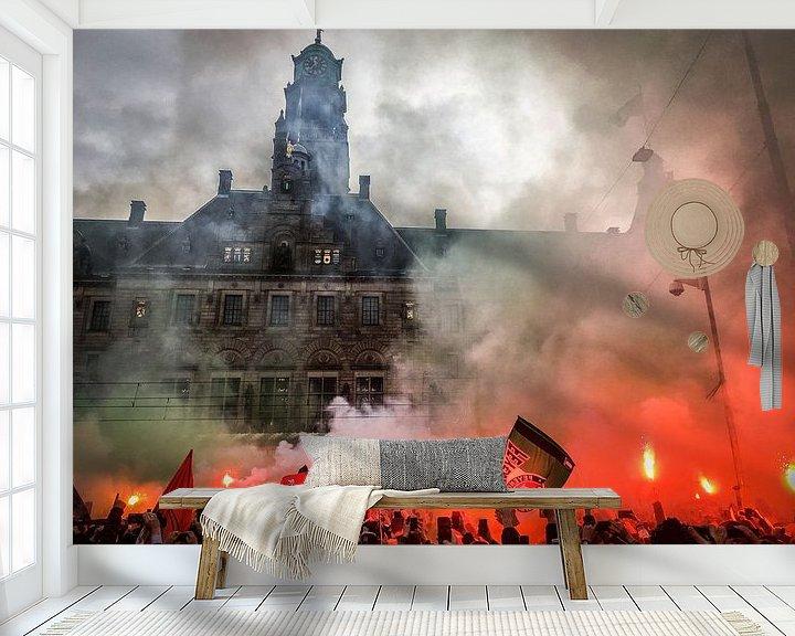 Sfeerimpressie behang: Feyenoord KNVB Beker Huldiging Rotterdam van Peter Lodder
