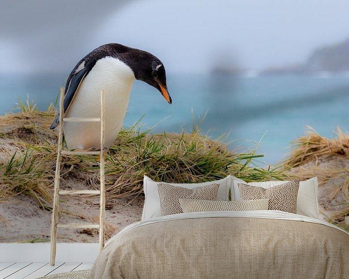 Sfeerimpressie behang: Gentoo penguin van Claudia van Zanten