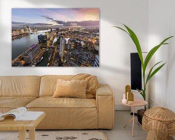 Skyline Rotterdam met zonsondergang van Prachtig Rotterdam