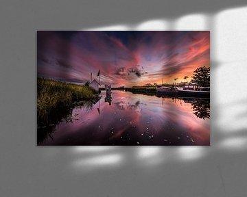 Sunset at Schaphalsterzijl van Ronnie Schuringa