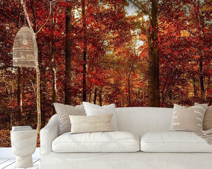 Sfeerimpressie behang: 50 tinten rood .......... van Fotografie Jeronimo