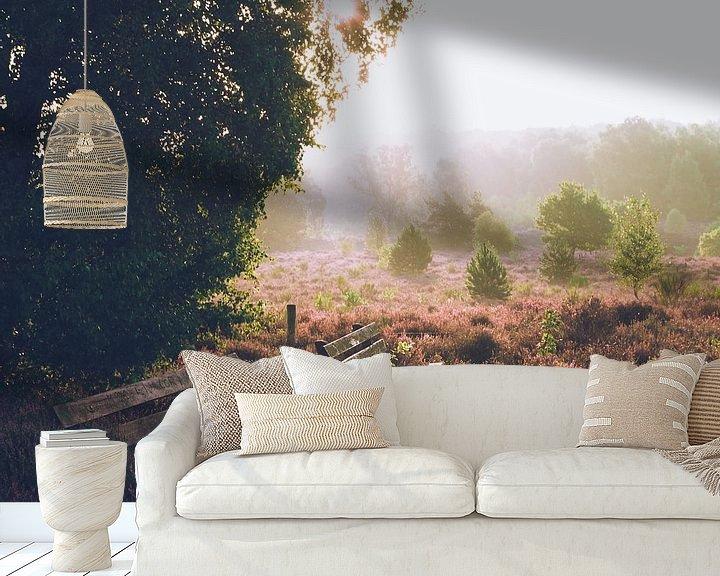 Sfeerimpressie behang: Rustige zonsopkomst op de Veluwe van Wahid Fayumzadah