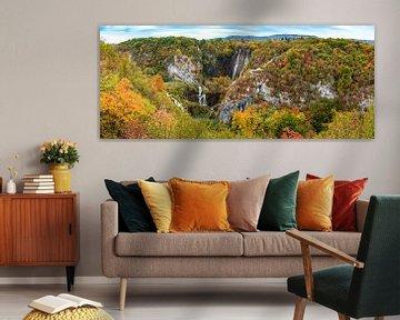 Panorama Plitvice watervallen, Kroatië van Rietje Bulthuis