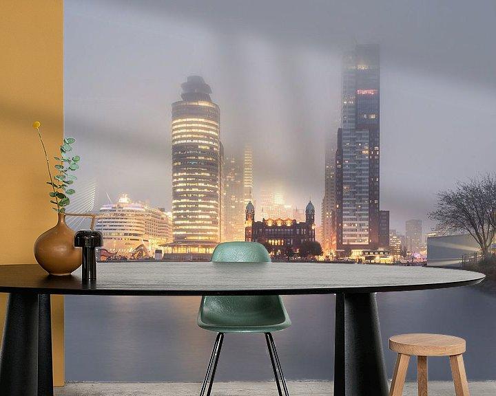 Sfeerimpressie behang: Rotterdam: Kop van Zuid in de mist van Olaf Kramer