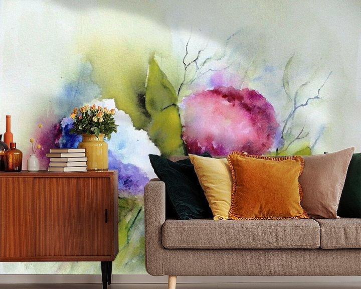 Sfeerimpressie behang: Hortensia's van Rita Tielemans