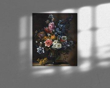 Stillleben mit Tulpen, einer Hyazinthe und anderen Blumen in einer Glasvase, Jean-Baptiste Monnoyer