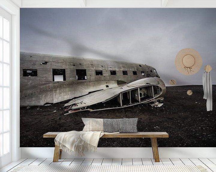 Sfeerimpressie behang: DC-3 ijsland van Thijs Schouten