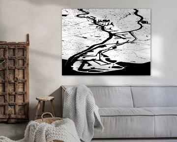 Hafenkarte Rotterdam - weiß und schwarz von Frans Blok