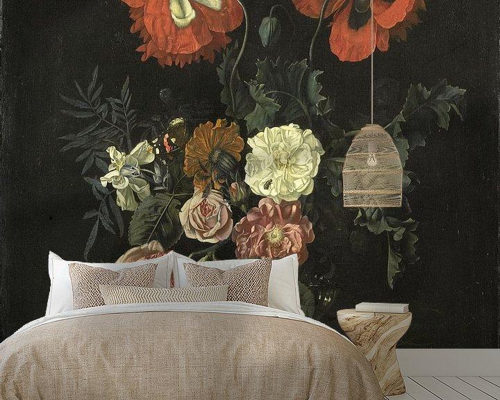 Sfeerimpressie behang: Nicolaes Lachtropius, Stilleven met bloemen
