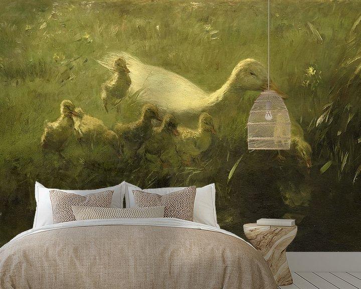 Sfeerimpressie behang: Willem Maris, Witte eend met kiekens