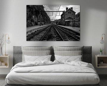 Oud station in zwart-wit von Thirza Sprong
