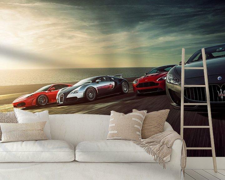 Beispiel fototapete: Sunset Dragrace F430, Veyron, Vantage und Stradale von Gijs Spierings