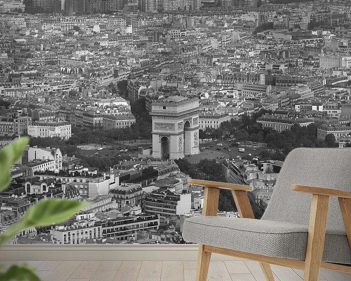 Sfeerimpressie behang: De Arc de Triomphe in Parijs vanaf de Eiffeltoren van MS Fotografie   Marc van der Stelt