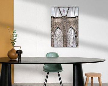 Brooklyn Bridge New York met Amerikaanse vlag