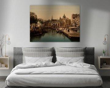Vismarkt en Waag, Amsterdam van Vintage Afbeeldingen