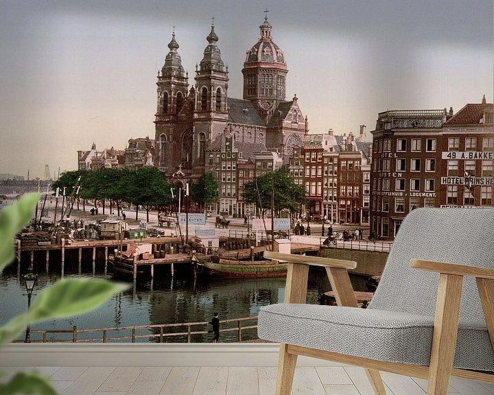 Sfeerimpressie behang: Nicolaaskerk, Amsterdam van Vintage Afbeeldingen