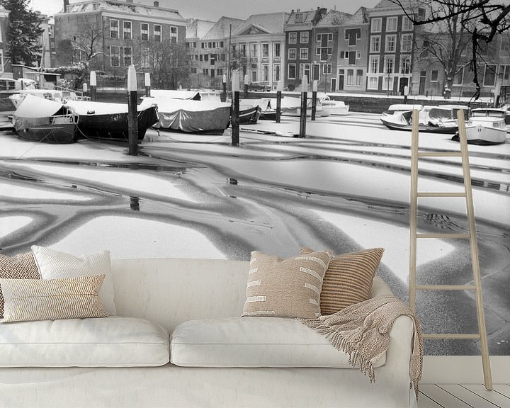 Sfeerimpressie behang: Nieuwe Haven Dordrecht van Dordrecht van Vroeger