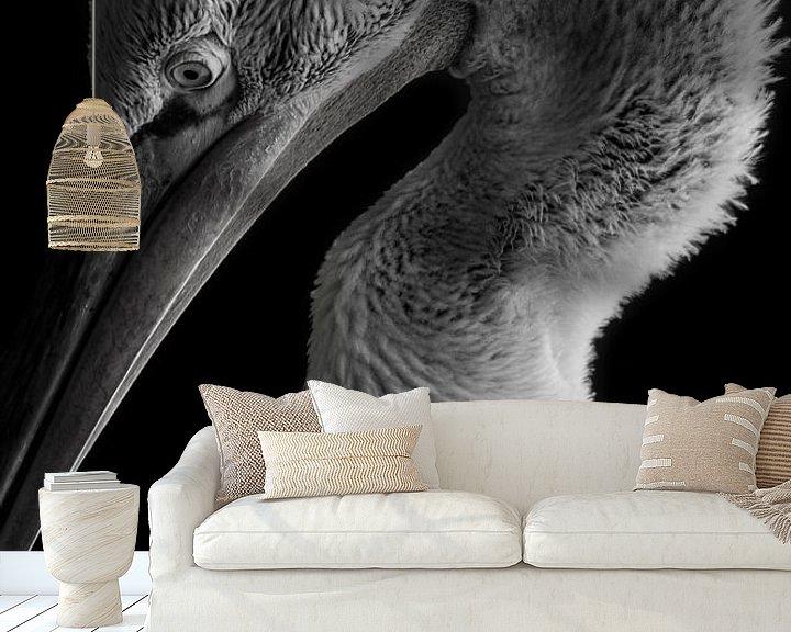 Sfeerimpressie behang: pelikaan van Jiske Wijmans @Artistieke Fotografie