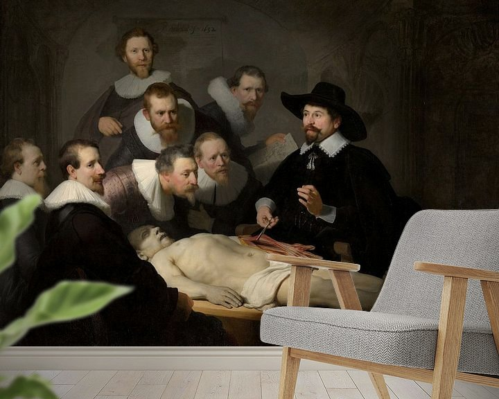 Sfeerimpressie behang: Rembrandt van Rijn, De anatomische les van Dr Nicolaes Tulp