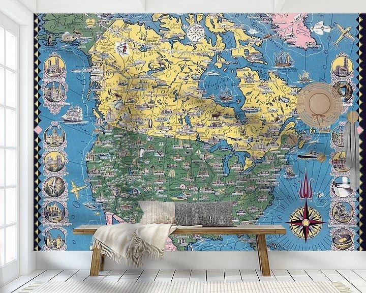 Sfeerimpressie behang: Historische kaart van Noord-Amerika van World Maps