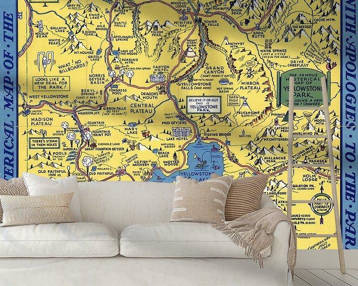 Sfeerimpressie behang: 'Hysterische' kaart van het Yellowstone Park van World Maps