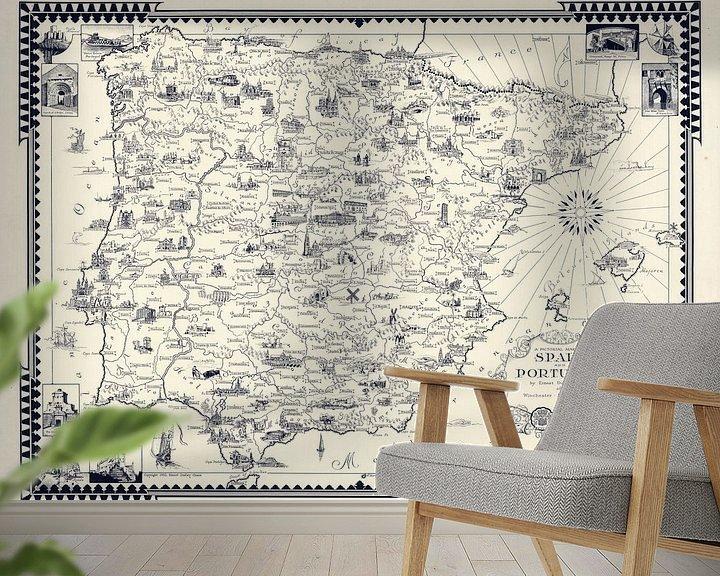 Impression: Une carte picturale de l'Espagne et du Portugal sur World Maps