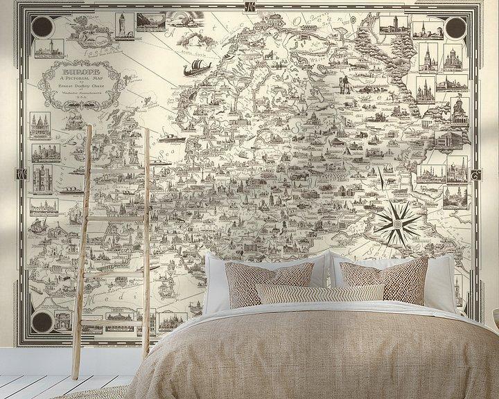 Sfeerimpressie behang: Europa: een picturale kaart van World Maps