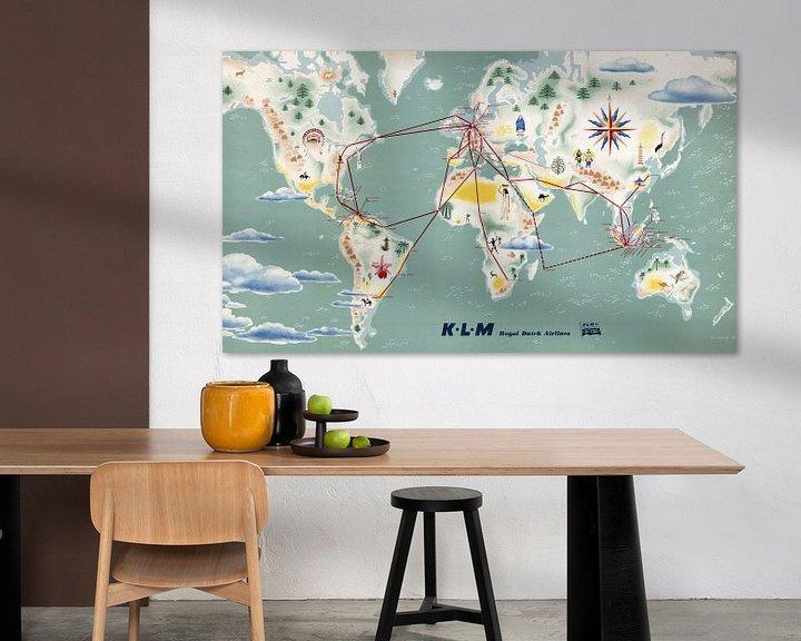 Sfeerimpressie: Vluchtroutes van KLM op de Kaart van World Maps