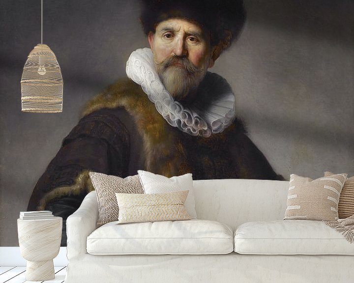 Sfeerimpressie behang: Portret van Nicolaes Ruts door Rembrandt