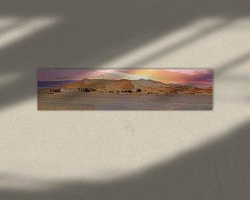 Panorama van de Erg Chebbi woestijn in Marokko bij zonsondergang von Nisangha Masselink