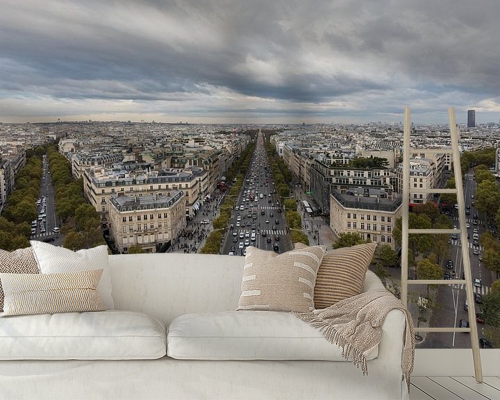 Sfeerimpressie behang: De Champs Elysées vanaf de Arc de Triomphe in Parijs van MS Fotografie   Marc van der Stelt