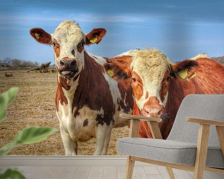 Sfeerimpressie behang: Zweedse koe van Ron de Regt