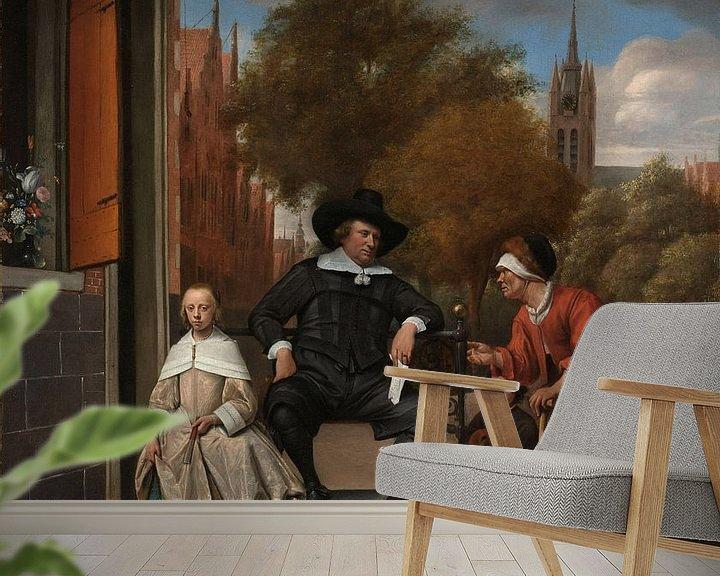 Sfeerimpressie behang: De burgemeester van Delft en zijn dochter, Jan Havicksz. Steen