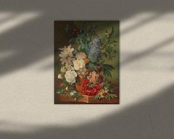Blumen in einer Terrakotta-Vase, Albertus Jonas Brandt