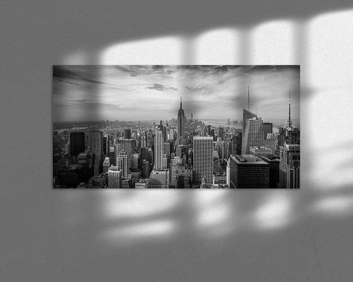 Beispiel: New York - Schwarz-Weiß-Panorama über Manhattan von Toon van den Einde