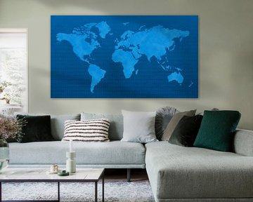 Monde numérique bleu sur World Maps
