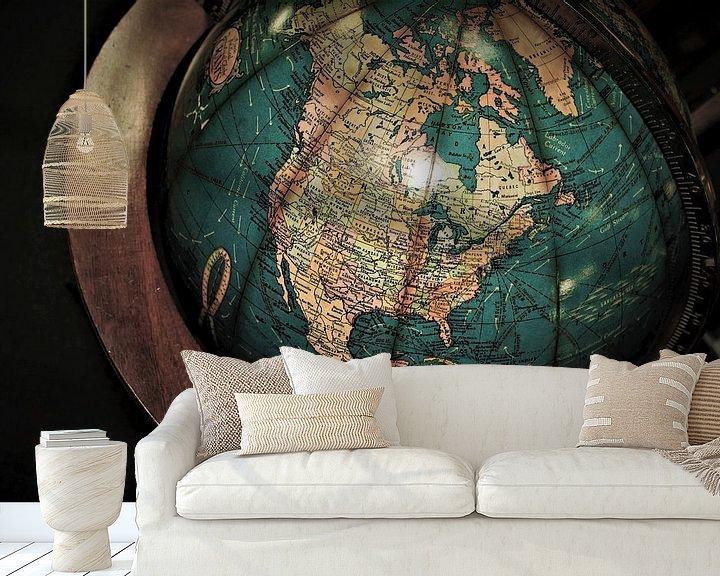 Impression: Vieux Globe avec l'Amérique du Nord sur World Maps