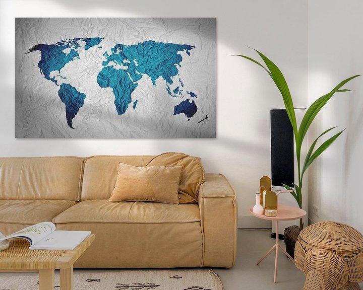 Impression: Carte du Monde Bleu sur Papier sur World Maps