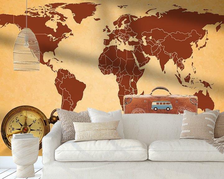 Sfeerimpressie behang: Reizen over de wereld van World Maps