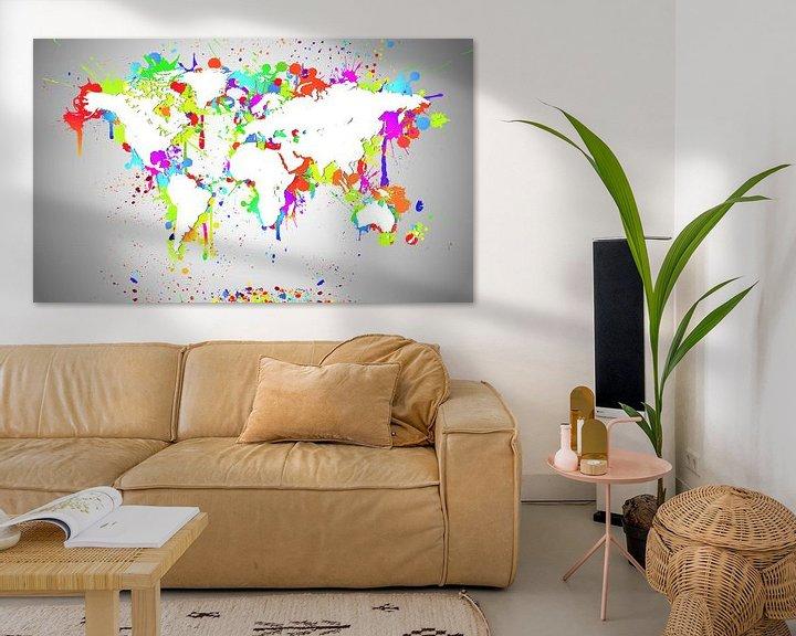 Sfeerimpressie: World Map White Splash van World Maps