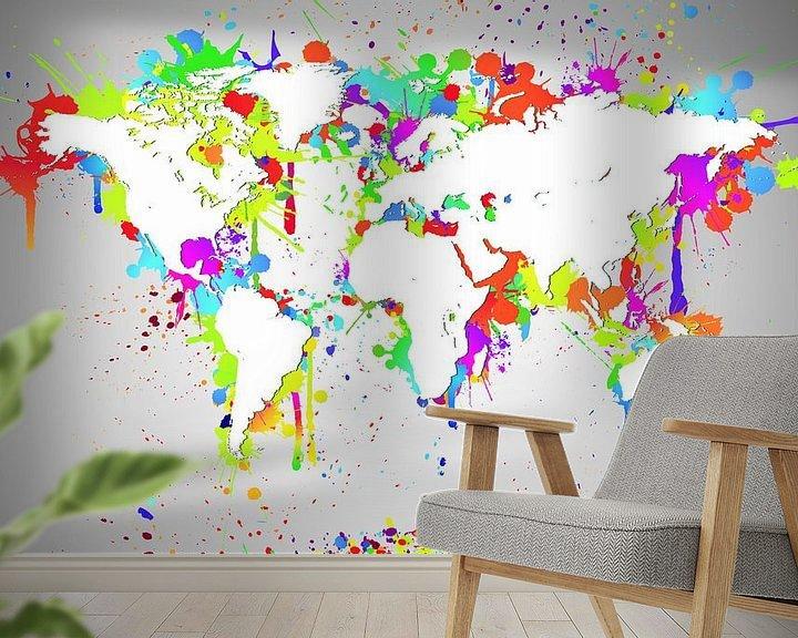 Sfeerimpressie behang: World Map White Splash van World Maps
