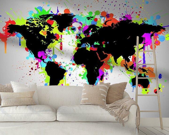Sfeerimpressie behang: World Map Black Splash van World Maps
