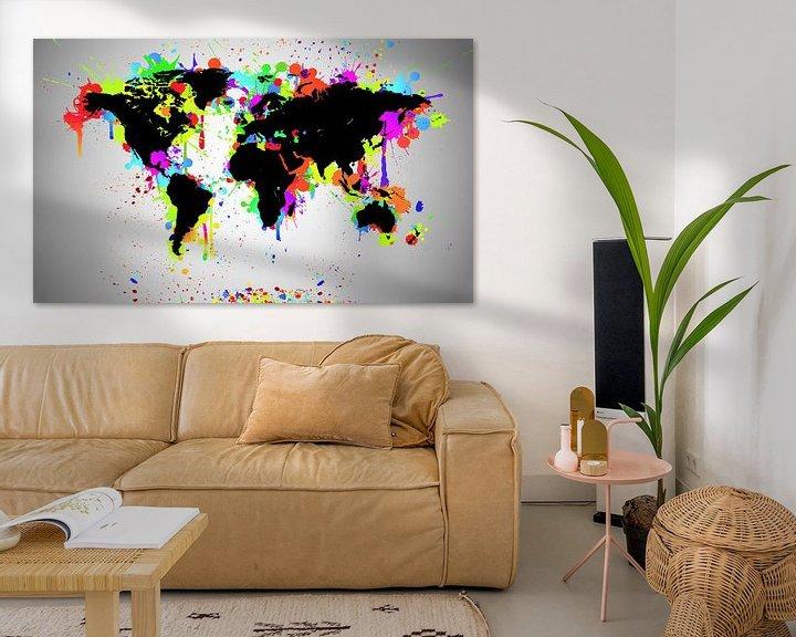 Sfeerimpressie: World Map Black Splash van World Maps