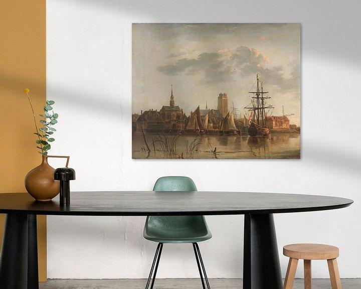 Sfeerimpressie: Gezicht op Dordrecht bij zonsondergang, Aelbert Cuyp