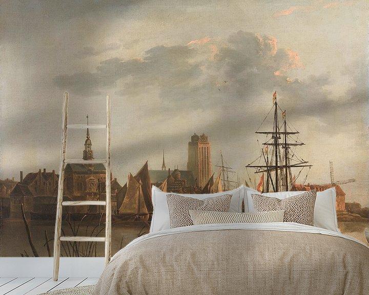 Sfeerimpressie behang: Gezicht op Dordrecht bij zonsondergang, Aelbert Cuyp