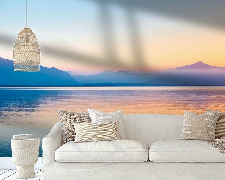 Beispiel fototapete: Sonnenuntergang Alpen Chiemsee von Holger Debek