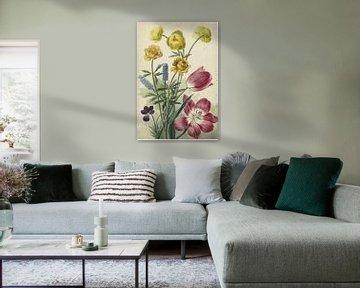 Blumenstrauß aus Tulpen, Veilchen, blauen Trauben und Dottern - Willem van Leen