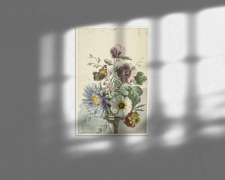 Sfeerimpressie: Boeket bloemen met een vlinder, Willem van Leen