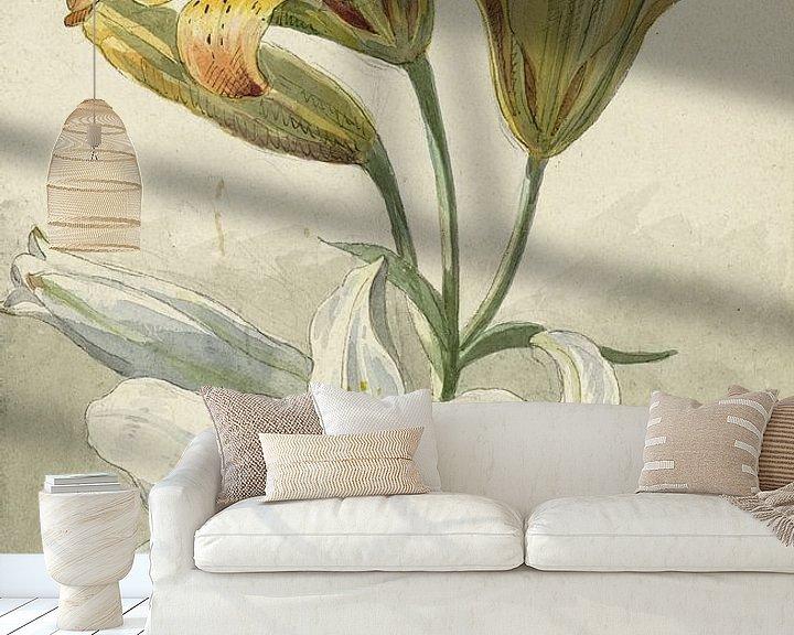 Sfeerimpressie behang: Gele en witte lelies, Willem van Leen