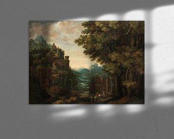 Bergachtig landschap met rivierdal en kastelen, Jan Meerhout